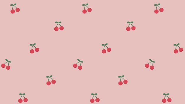 Red hand drawn cherry seamless pattern on pink social template