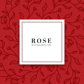 Red hand drawn floral background