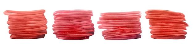 赤い手描きのブラシストローク水彩セット