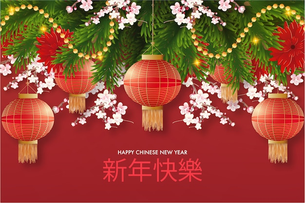 Red happy chinese new year realistic background