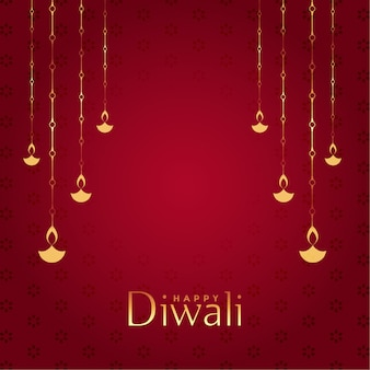 Red happy diwali decorative background