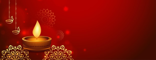 黄金のスタイルのdiyaと赤い幸せなディワリウェブバナー