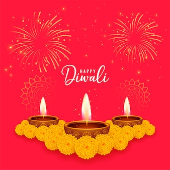 Red happy diwali wishes card with marigold flower