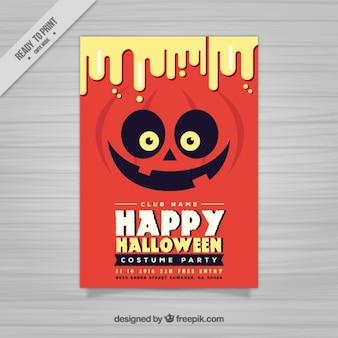 Red happy halloween poster