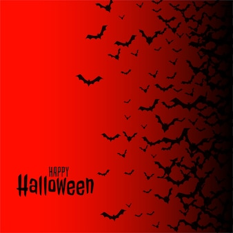 Red happy halloween con pipistrelli volanti