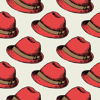 Red hat retro seamless background. wallpaper decoration hipster cap.