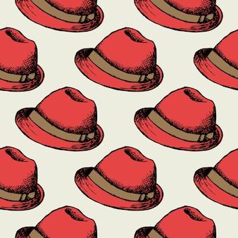 赤い帽子のレトロなシームレスな背景。壁紙装飾ヒップスターキャップ。