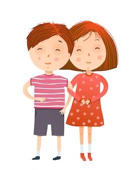 赤い頭の女の子と手を繋いでいる少年