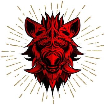 イノシシの赤い頭