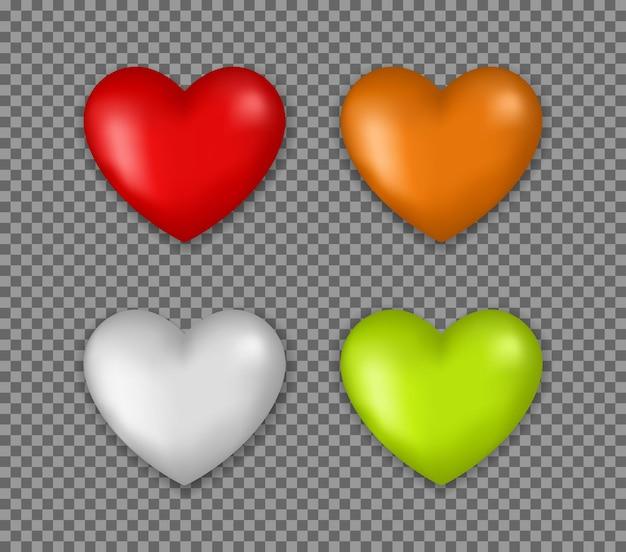 고립 된 레드 심장 3d 아이콘