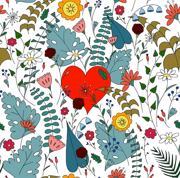Red heart among flowers cute bright pattern for valentines day birthday card
