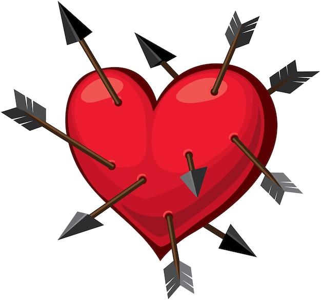 Красное сердце и стрелы амура