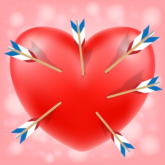 Red heart attacked by cupid arrows vector