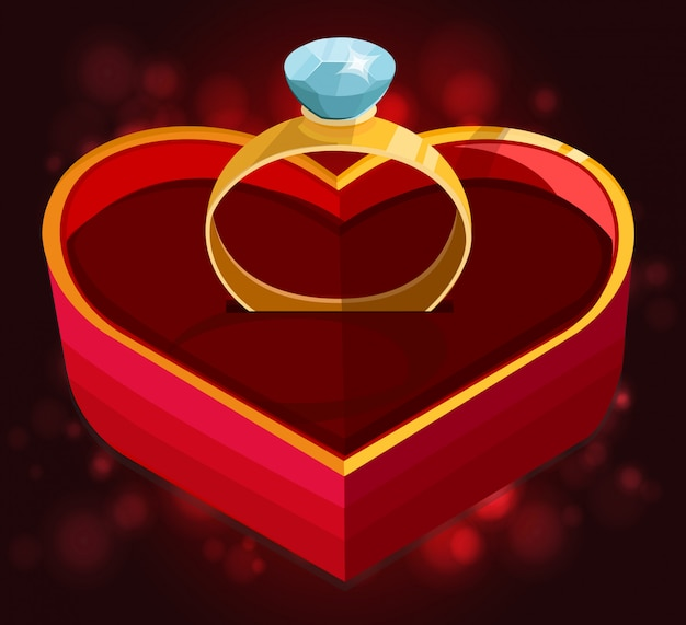 Red heart box with ring