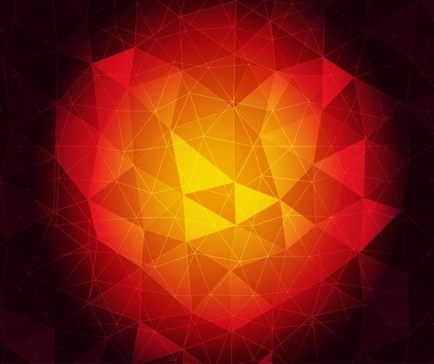 Красное сердце кристалл векторный фон