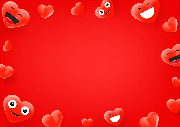 Red heart cute faces. social media message   background. copy space for a text