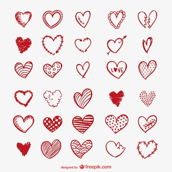Красные рисунки сердца