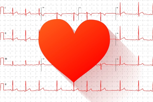 Red heart flat icon on typical human electrocardiogram graph with marks