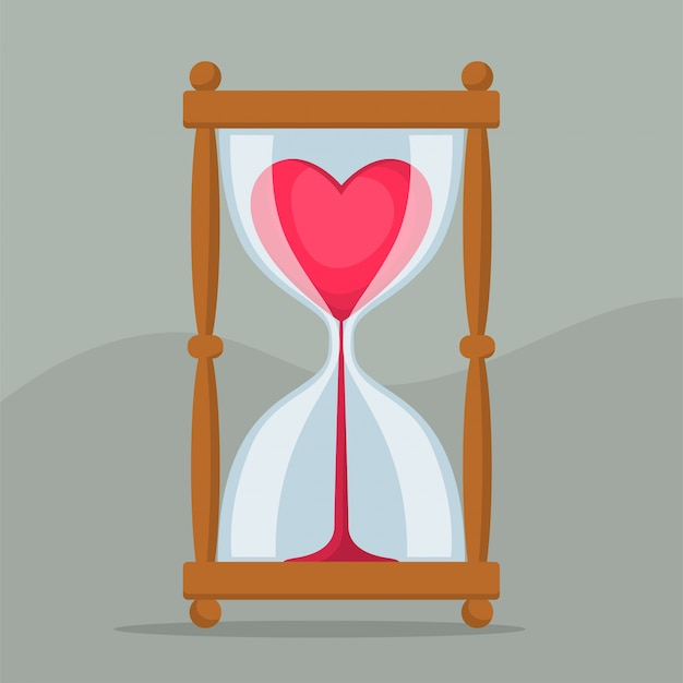 A red heart flow in hourglass