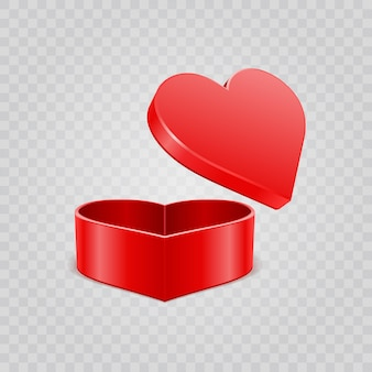 バレンタインデーの透明な背景に分離された赤いハートのギフトボックス。