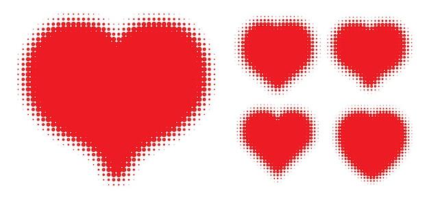 Красное сердце полутоновых точек логотип набор знаки любви любовь сердце эмблема валентина рамка вектор