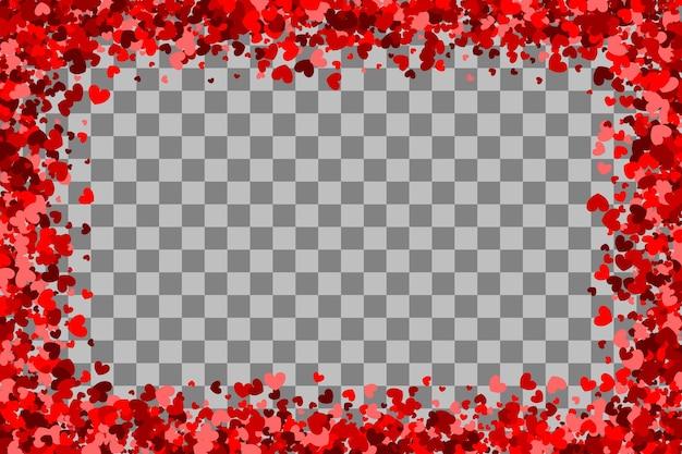 赤いハートのホリデーフレームバレンタインデー紙吹雪きらめきheartsrandomfalling