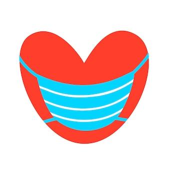 医療用マスクの赤いハート。ベクトルイラスト。薬、ステッカー、広告、バレンタインデーのデザイン
