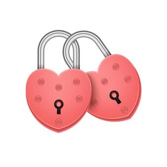 함께 연결 된 열쇠 구멍으로 붉은 심장 잠금