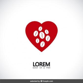 Красное сердце логотип с кофе в зернах