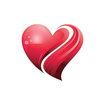 Red heart love care in 3d symbol