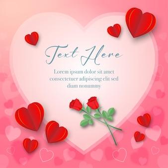 핑크 바탕에 하트 프레임이 있는 붉은 심장 종이 공예와 붉은 장미