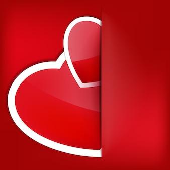 シャドウバレンタインデーの赤いハート紙ステッカー。