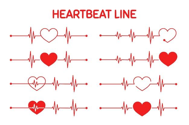 Красный график частоты пульса во время тренировки. концепция спасения жизни пациента. изолированные на белом фоне.