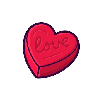 Red heart shape box vector icon isolated on white