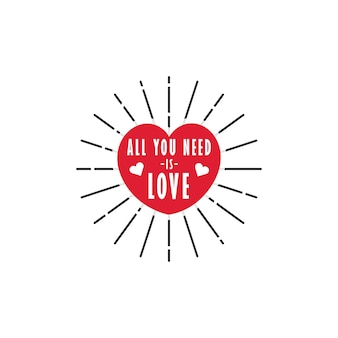 Red heart shape with all you need is love typography lettering word art inside free vector