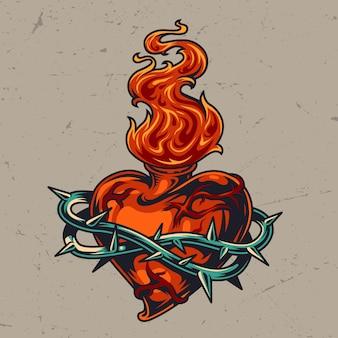 와이어에 붉은 심장 모양의 병