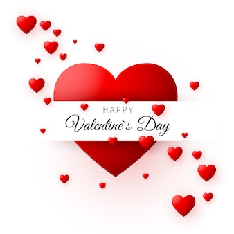 Красное сердце - символ любви. карточка или знамя дня святого валентина. шаблон для плаката и обертки. иллюстрация на белом фоне