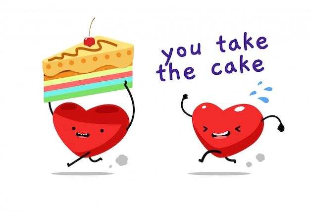 A red heart take the cake. vector illustration
