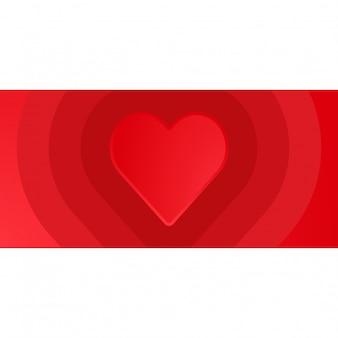 Red heart valentine banner background