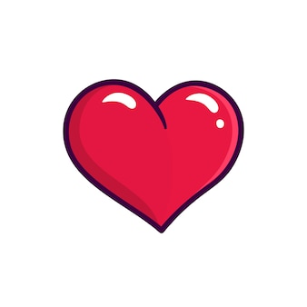 Red heart vector icon isolated on white background