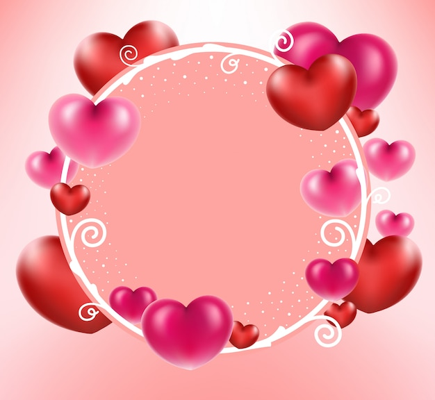 Red heart with circle frame on pink background.