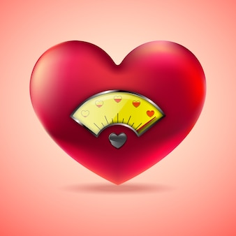 Red heart with fuel gauge, love heart indicator
