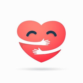Красное сердце с объятиями руки, изолированные на белом фоне