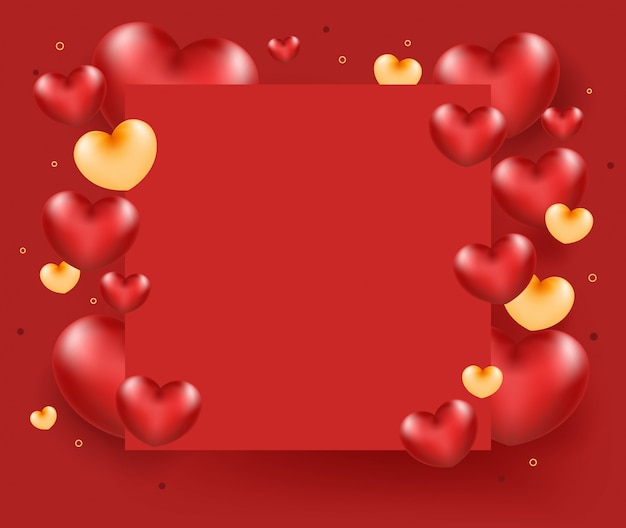 Red heart with paper frame on red background.