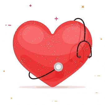 Cuore rosso con stetoscopio per il concetto di salute e medico.