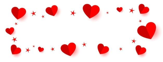 Красные сердца и звезды обрамляют баннер с пространством для текста