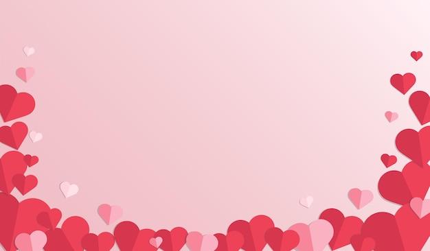 赤いハートの背景。ハートの紙カット。