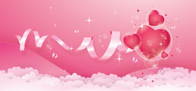 Red hearts in bubble float on pink color