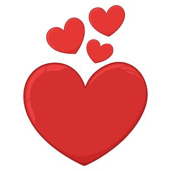 Мультфильм красных сердец, изолированные на белом. Premium векторы