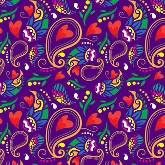 Red hearts colorful paisley seamless pattern